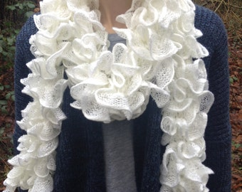 Ruffle Scarf, Frilly Scarf, Knitted Scarf, Lacy Scarf, Light Scarf, White Scarf, Women's Scarf