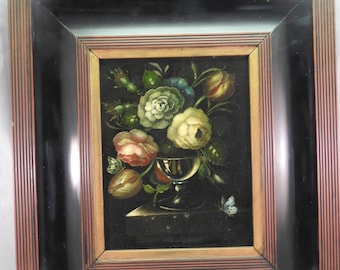 antique oil painting on board in black ebony frame,Life style