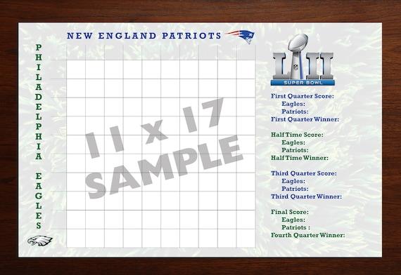 Bowl Big Game Day Square Grid Chart 2018 Superbowl Football