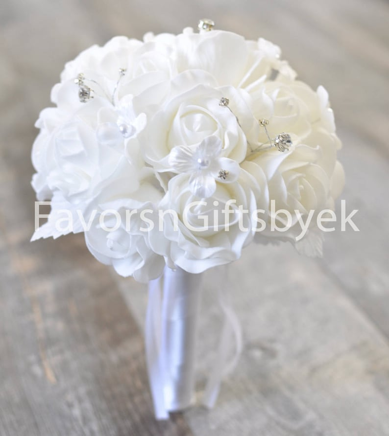 Wedding Bouquet White Eva Foam Rose  Wedding Bouquet Bridal Bouquet