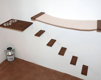 Cat Furniture Set: Hammock Feeder Steps Wall Mounted Cat Bed Shelf Stairs,Elevated Cat Feeder Water Bowls,Wood Canvas Hand Made Cat Play Set