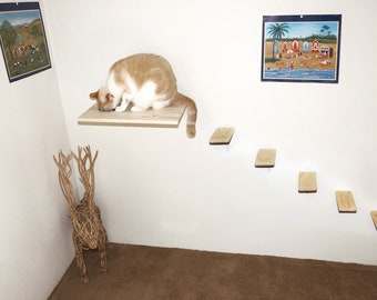 Lovely Wall Mounted Cat Feeder U0026 5 Cat Steps Set, Cat Food Station Cat Stairs,