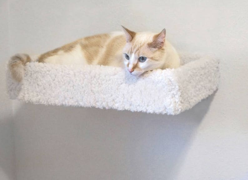 Cat Stairs Wood Crafted Cat Furniture Accessories Plush Pet Bed Combo Set: Wall Mounted Free Floating Cat Bed /& 5 Deluxe Wooden Cat Steps