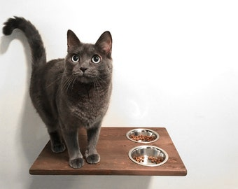 Wall Mounted Cat Feeder, Cat Food Bowls Food Station Cat Shelf, Cat Feeding Dining Station Cat Furniture Accessories Cat Care Hand Made Wood