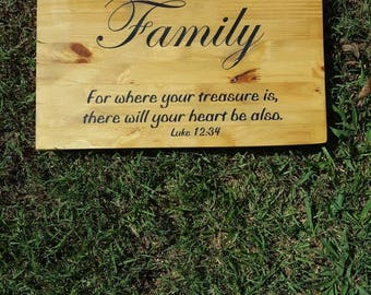 Wood sign with scripture