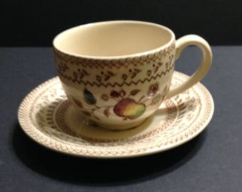 Footed cup and saucer in Fruit Sampler (Older) pattern, Johnson Brothers Staffordshire Old Granite, made in England, vintage.