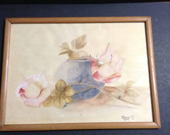 """Vintage watercolor painting signed """"Margi"""", vase with leaves and flowers, wood frame."""