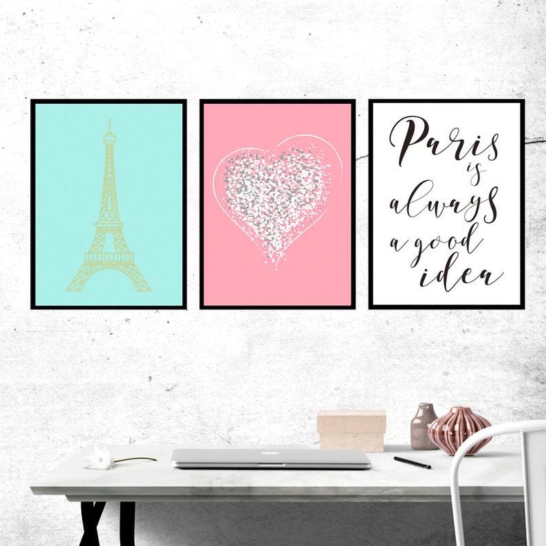Do Pobrania Zestaw 3 Wydruków Paris Wystrój Do Druku Sypialni Różowy I Złoty Francuski Miłośników Gift Gold Eiffel Wieża Wystrój Domu Paris