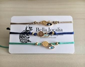 Small Silver Gold Plated Evil Eye Charm Bracelet / Dainty  Bracelet / Delicate Bracelet / Gift Evil Eye Bracelet / Satin cord Bracelet