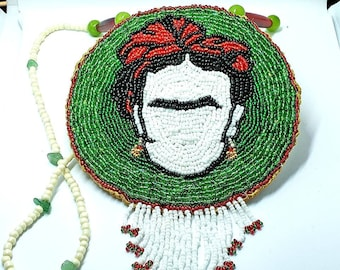 Frida Kahlo Beaded Rosette Medallion 4.5 inches