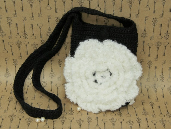 Black Sling Bag for Smartphone or Tablet / Knitted Pocketbook with Two  White Roses / Soft Crocheted Mori Girl Purse