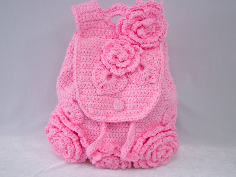 Large Pink Crocheted Backpack for Girls   Cute Floral Laptop Bag for ... cb732deda55a0