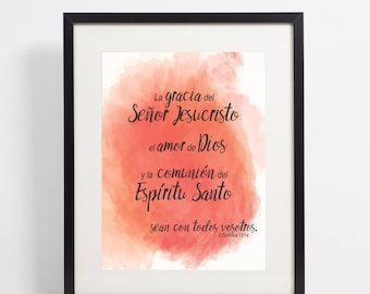 Instant Download Spanish Scripture Quote, 2 Corintios Coral Watercolor Art Print, Inspirational Bible Verse Print, Christian Wall Decor