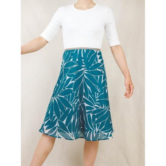 Dark sea green skirt with tropical print / Japanes