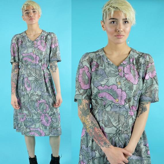 Gray and light mossy green botanical dress w/ brig