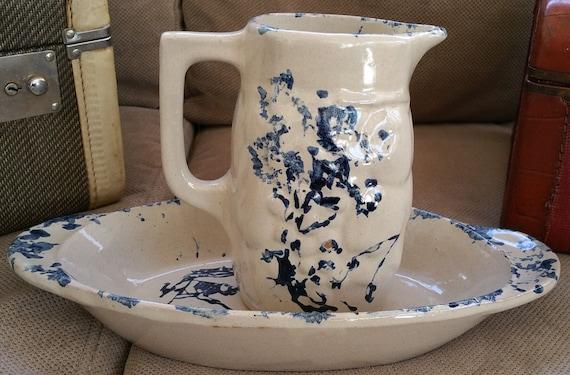 Vintage MCM Ceramic Beige Pitcher Set