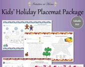 Kids' Holiday Placemats, Valentine's Day, Halloween, Thanksgiving, Winter, Word Search, Family Games, Winter Activities, Holiday Fun