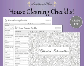 house cleaning checklist gray editable fillable house cleaning list home organizer housekeeping schedule pdf digital planner printable