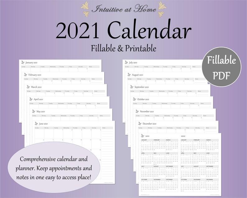 Mini 2021 Calendar Printable Gray Fillable Monthly ...