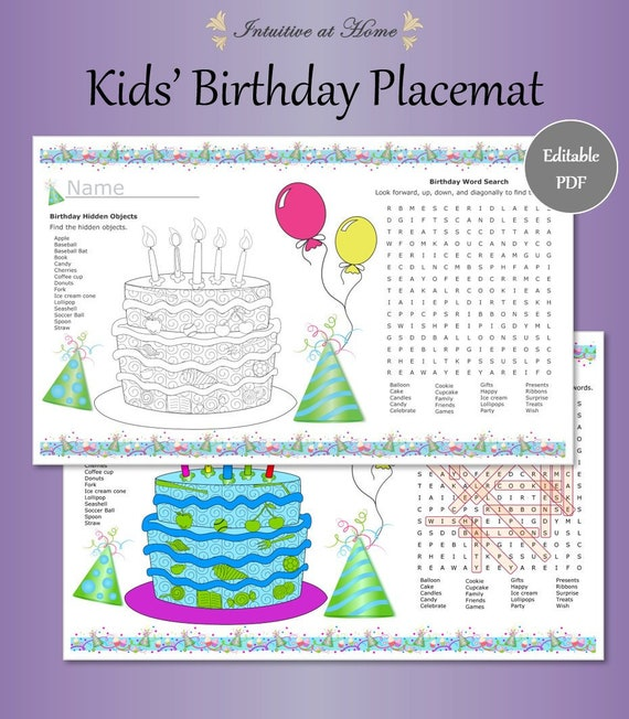image about Printable Vocabulary Game titled Youngsters Birthday Get together Placemat, Printable Term Look, Vocabulary Activity, Birthday Actions, Clroom Celebration, Desk Favors, Spot Mat, Colour