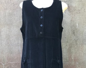 Vintage Real Comfort Black Corduroy Jumper Dress