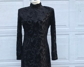 Vintage Dawn Joy Fashions Semi Sheer Black Velvet Dress With Mock Turtleneck