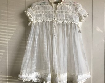 b97d63a4fe Vintage Miss Elaine White Lace And Tulle Bed Jacket