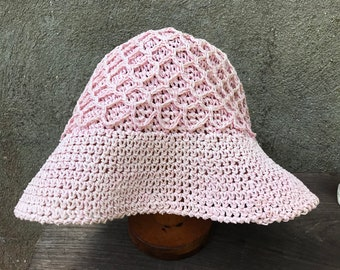 03f0d87bb14 Vintage Light Pink Woven Mesh Bucket Hat