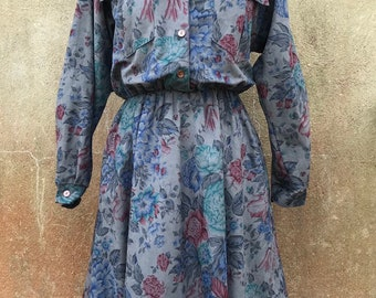 fa79a1213 Vintage 80s Stuart Alan Floral Long Sleeve Midi Dress Size S/M