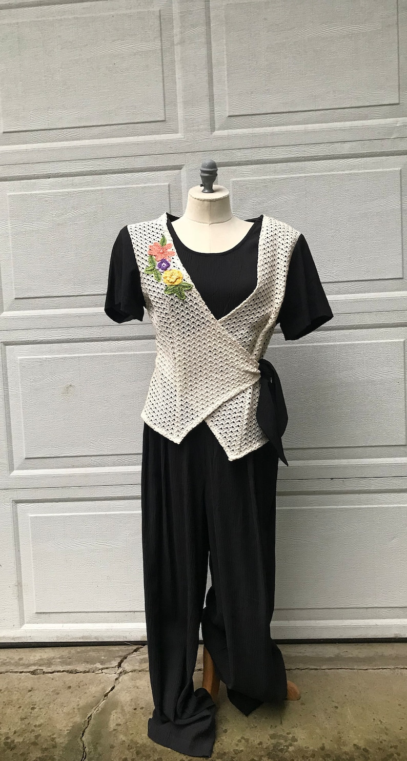 d1b057cb027d Vintage Lacy Afternoon By Shell Kepler Black Jumpsuit With