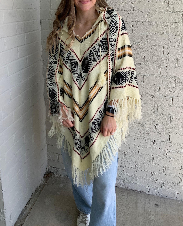 Vintage Scarf Styles -1920s to 1960s Vintage 70S Knit Multi Print Fringe Poncho Boho Festival  Womens Xs-1X $0.00 AT vintagedancer.com
