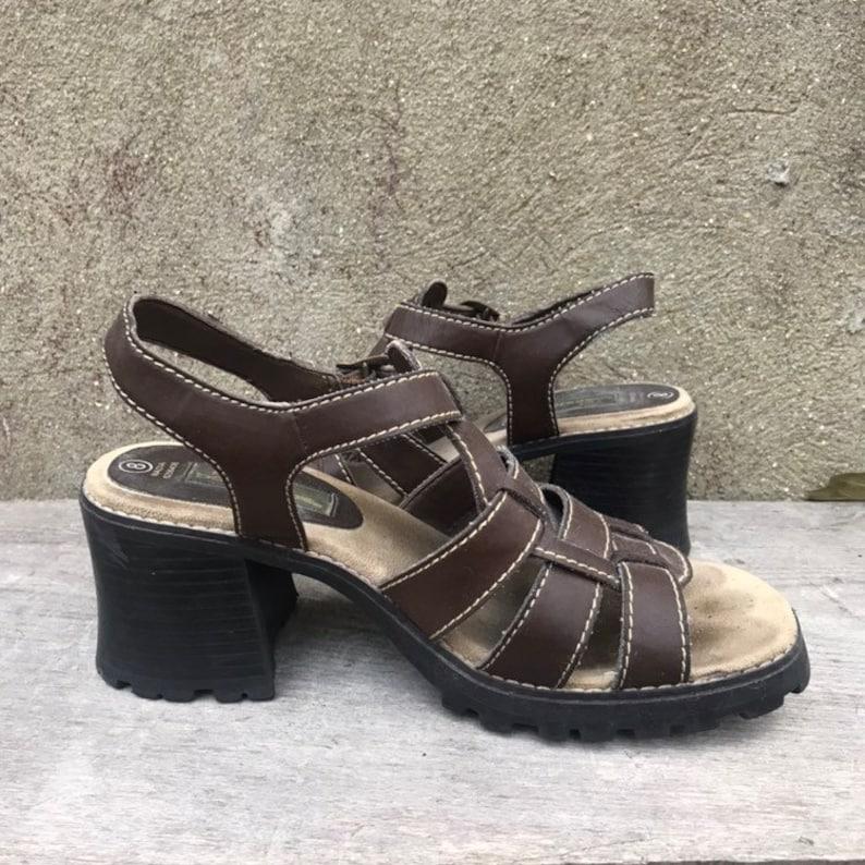 dedd2cdc62b Vintage 90s No Boundaries Brown Faux Leather Chunky Heel