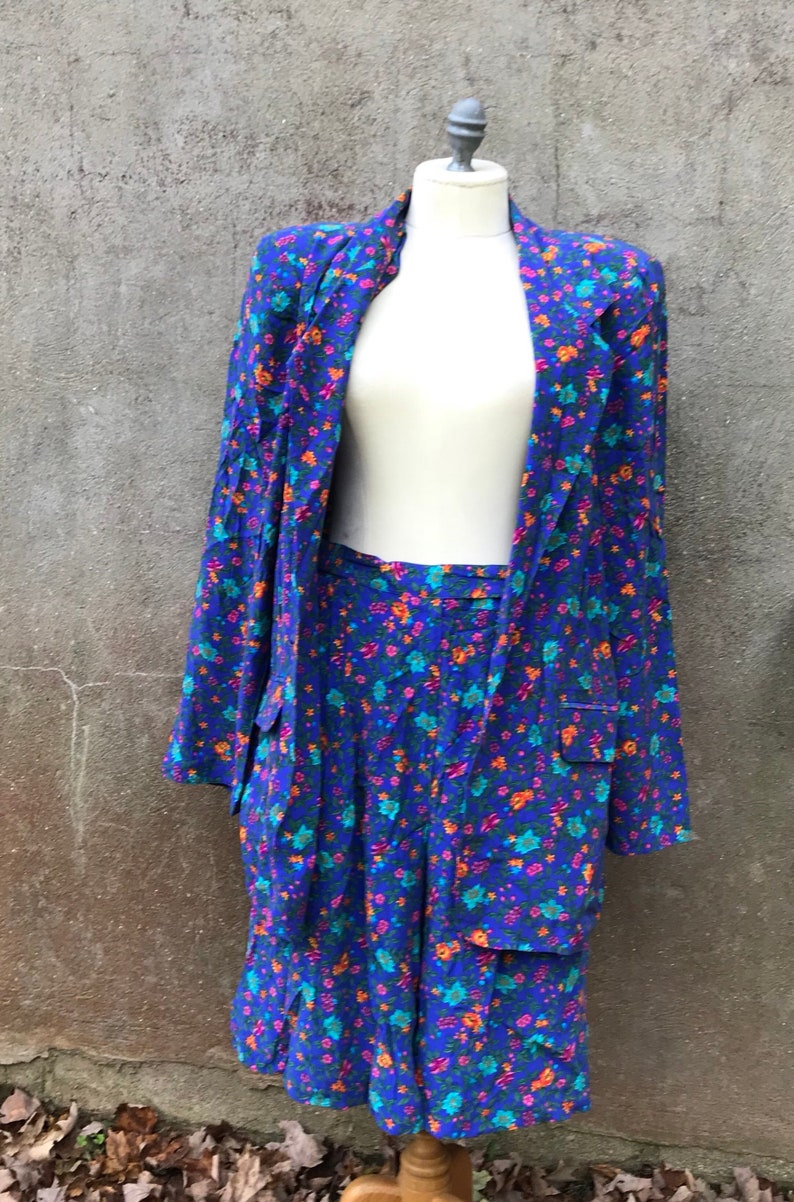 f1a83a326 Vintage 90s Liz Claiborne Silk Purple Floral Shorts Suit Set