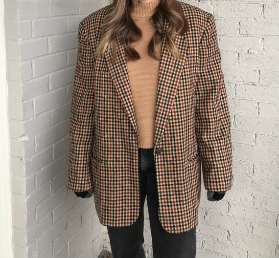 Vintage 80s-90s Requirements Wool Blend Plaid Over