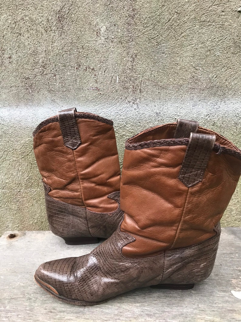 Calf Cowboy Boots Made In USA Vintage 80s Zodiac Two Tone Brown Leather Mid Women\u2019s 7M