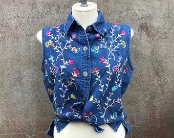 Vintage New Direction Floral Jean Vest