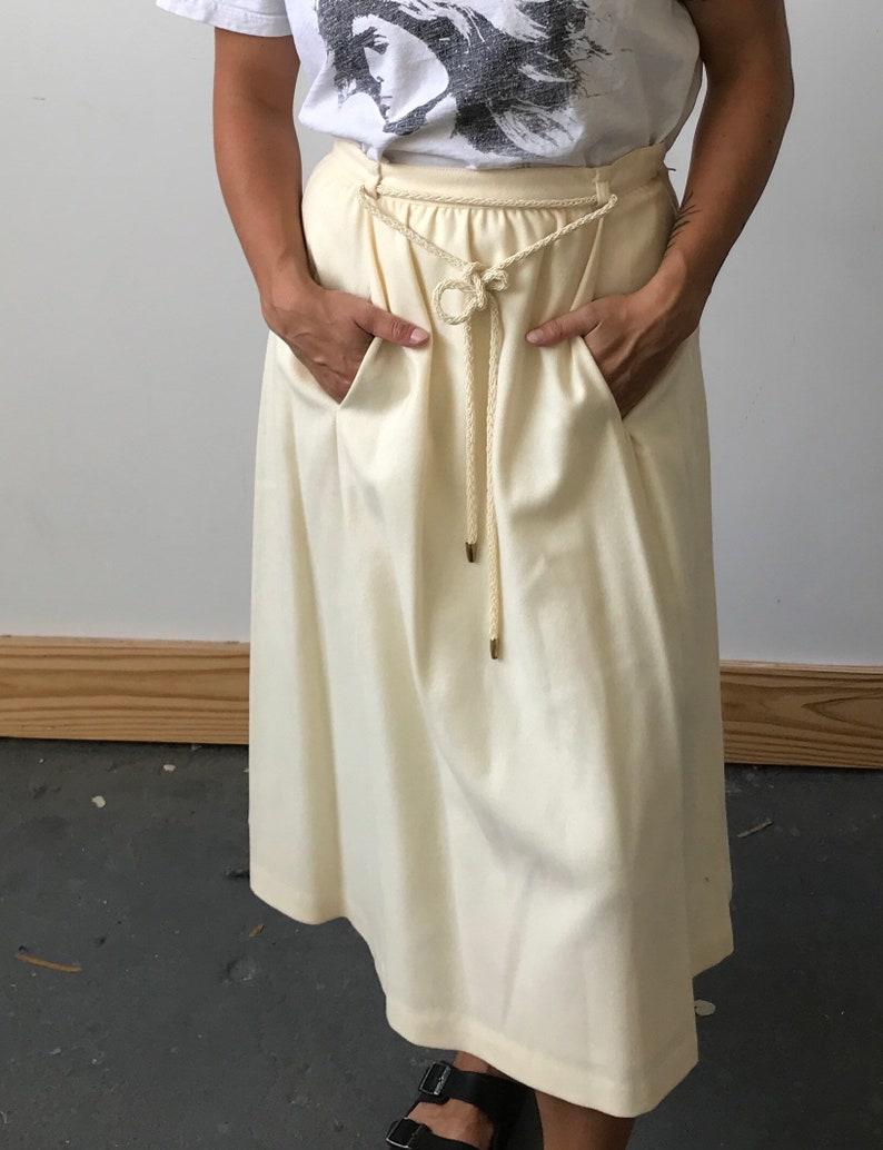 Women\u2019s Small Vintage 1970s Panther Cream High Waist Wool Midi Skirt Union Label
