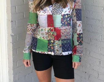 Vintage 1970s Strait Lane Long Sleeve Collared Semi Sheer Patchwork Button Up Top Boho Patchwork Blouse || Women's XS/S/M