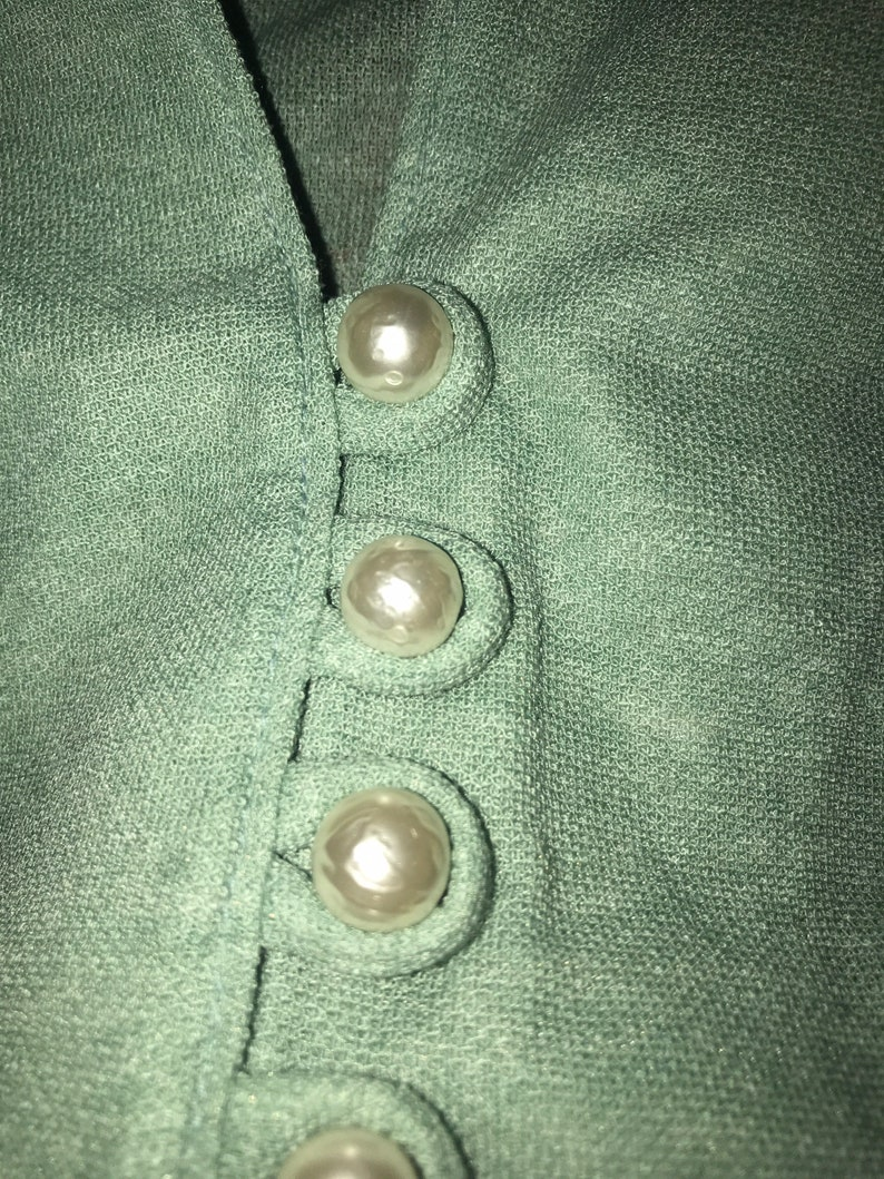 Vintage Asian Style Sage Green Faux Pearl Button up Blouse Women\u2019s SML