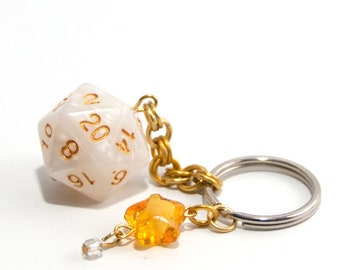 White and Gold D20 Keychain - Tabletop Gaming Accessories