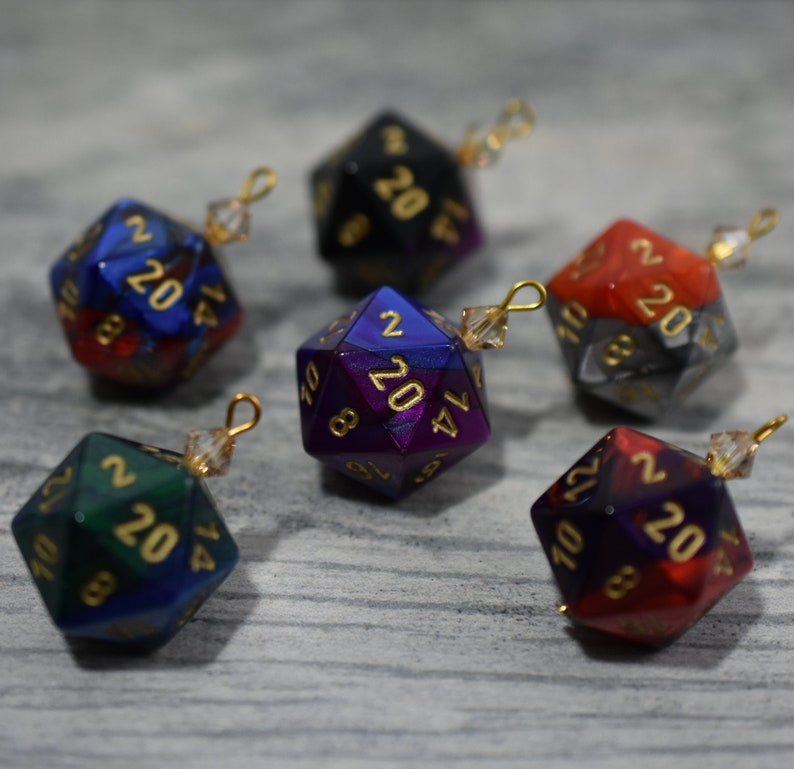 Gemini D20 Dice Ornaments Tabletop Gaming Christmas Decorations with Crystal Accents