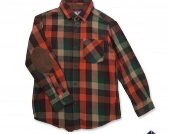 Shirt plaid in green/orange/beige