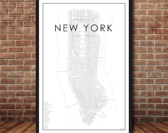 digital new york city map map of manhattan new york print map poster