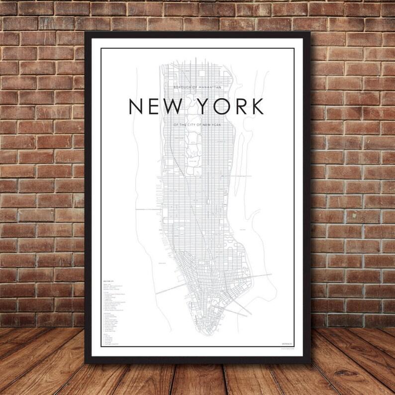 Street Map Of Manhattan New York.New York City Map Map Of Manhattan New York Print Map Poster Nyc Map New York Map Manhattan Map Street Map Map Of Nyc