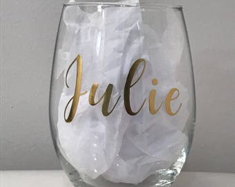 Personalized wine glass, wine glass, stemless wine glass