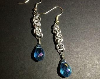Chainmail Blue Teardrop Earrings