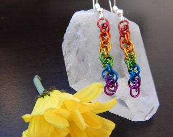 Dangling Rainbow Chainmaille Earrings