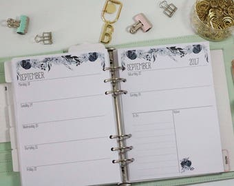 Printed A5 Planner Inserts - Horizontal Layout - Week on 2 pages - Large Kikki-K or Filofax - Black, Navy, Flowers