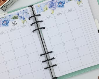 Printed A5 Planner Inserts - Monthly Refill - Month on 2 pages - Large Kikki-K or Filofax - Blue Flowers