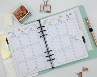 Printed A5 Planner Inserts - Vertical Layout - Week on 2 pages - Large Kikki-K or Filofax - Summer Flowers